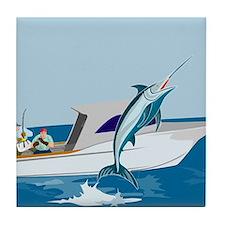 fishing blue marlin Tile Coaster