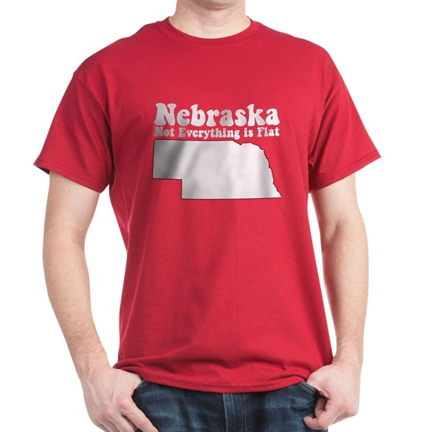 Nebraska fla dark t shirt nebraska flat t shirt for Cardinal color t shirts