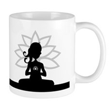 Yoga Girl Silhouette Coffee Small Mugs (Small)