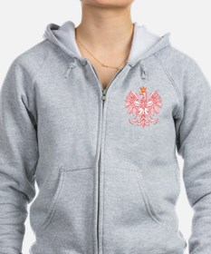 Polish Eagle Outlined In Red Zip Hoodie
