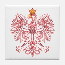 Polish Eagle Outlined In Red Tile Coaster