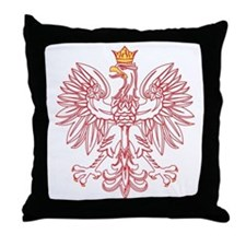Polish Eagle Outlined In Red Throw Pillow