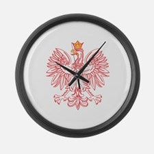 Polish Eagle Outlined In Red Large Wall Clock