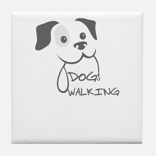 dog walking Tile Coaster