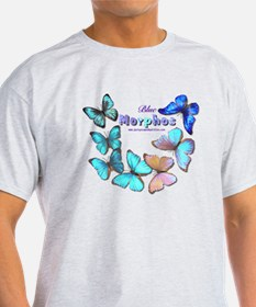Blue Morphos Butterfly Grey T-Shirt