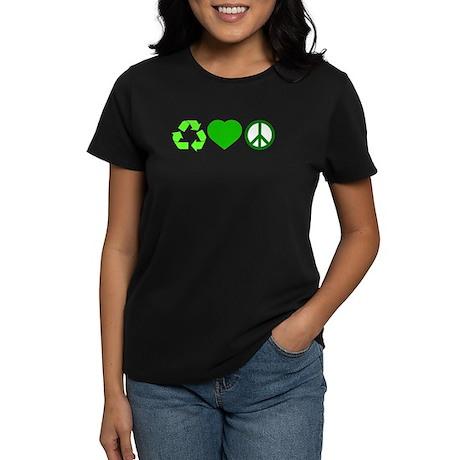 Peace Love Recycle Women's Dark T-Shirt