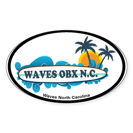 Waves NC - Surf Design Sticker (Oval)