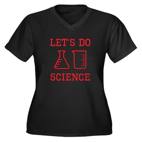 Let's Do Science Women's Plus Size V-Neck Dark T-S