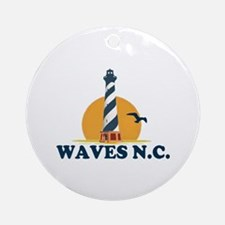 Waves NC - Lighthouse Design Ornament (Round)