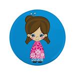 """Cute Little Geisha Girl 3.5"""" Button (100 Pk)"""