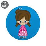 """Cute Little Geisha Girl 3.5"""" Button (10 Pk)"""