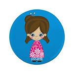 """Cute Little Geisha Girl 3.5"""" Button"""