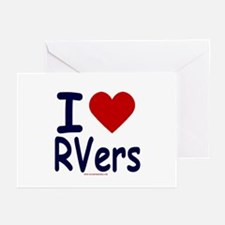 I Love (Heart) RVers Greeting Cards (Pk of 10)