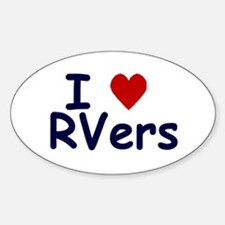 I Love (Heart) RVers Oval Decal