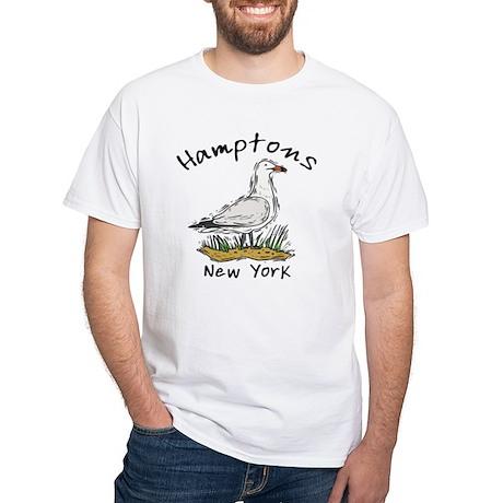 Hamptons NY Seagull White T-Shirt