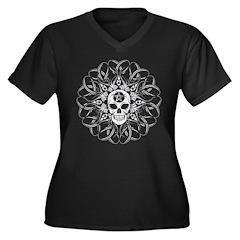 Goth Skull Women's Plus Size V-Neck Dark T-Shirt