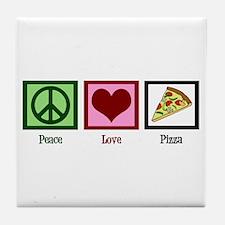 Peace Love Pizza Tile Coaster