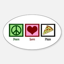 Peace Love Pizza Sticker (Oval)
