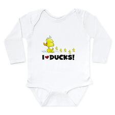 I Love Ducks Long Sleeve Infant Bodysuit