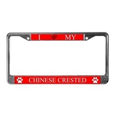 Red I Love My Chinese Crested Frame