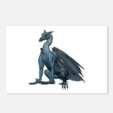 Sitting Blue Dragon (2) Postcards (Package of 8)