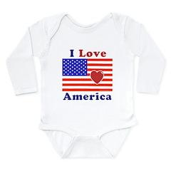 Heart America Flag Long Sleeve Infant Bodysuit