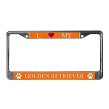 Orange I Love My Golden Retriever Frame