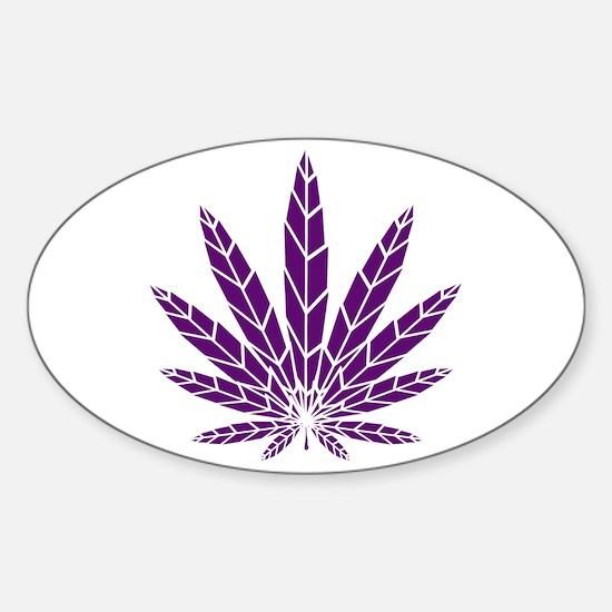 Purple Leaf Sticker (Oval)