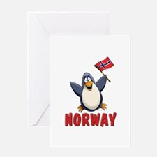 Norway Penguin Greeting Card