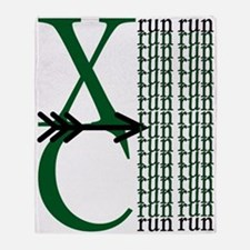 XC Run Dark Green White Throw Blanket