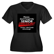 Senior Discount Women's Plus Size V-Neck Dark T-Sh