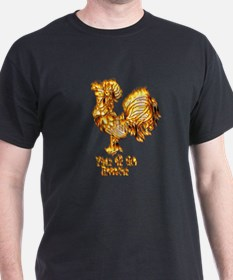 Wood Rooster Black T-Shirt