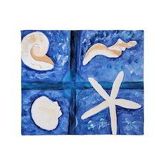 By the Shore Seashells Throw Blanket