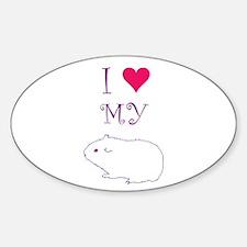 I Love My Guinea Pig Sticker (Oval)
