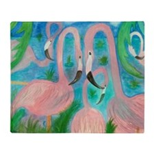 Flamingo Party Throw Blanket