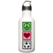 Peace Love Soccer Water Bottle