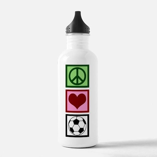 Peace Love Soccer Water Bottle