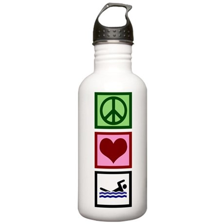 Peace Love Swimming Stainless Water Bottle 1.0L