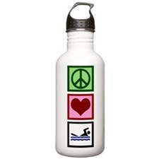 Peace Love Swimming Water Bottle