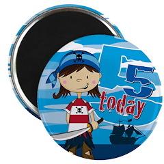 Cute Pirate Girl 5th Birthday Magnet