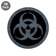 """Gray Biohazard 3.5"""" Button (10 pack)"""