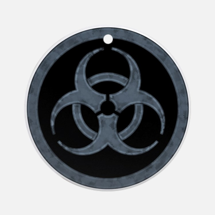 Gray Biohazard Ornament (Round)