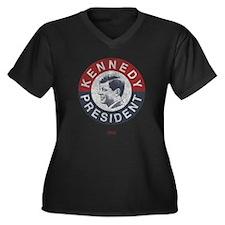 JFK for President Women's Plus Size V-Neck Dark T-