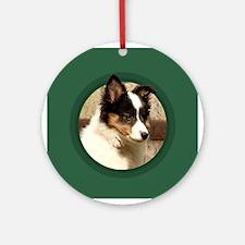 Shetland Sheepdog Puppy Round Green Ornament