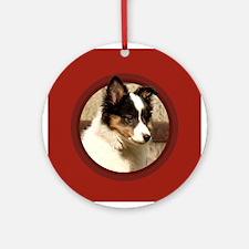 Shetland Sheepdog Puppy Round Red Ornament