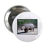 White Rhino Rhinoceros Photo Button