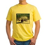 White Rhino Rhinoceros Photo Yellow T-Shirt
