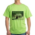 White Rhino Rhinoceros Photo Green T-Shirt