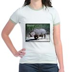 White Rhino Rhinoceros Photo (Front) Jr. Ringer T-