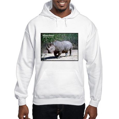 White Rhino Rhinoceros Photo (Front) Hooded Sweats